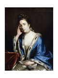 Portrait of Charlotte Walsingham  Seated Half Length  in a White Dress and Blue Cape Trimmed with…