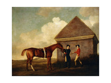 Eclipse'  a Dark Chestnut Racehorse Held by a Groom  with a Jockey  Possibly Jack Oakley  by the…