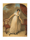 Portrait of a Lady  Standing Full Length in a White Dress by a Piano  1801