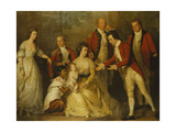 A Group Portrait of a Christening Party with a Lady Seated Full Length  with Her Husband Behind…