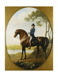 Portrait of Warren Hastings  Small Full Length  on His Celebrated Arabian  Wearing a Blue Coat…