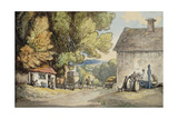 A Village Green: a Carriage Halted Beneath a Tree  with a Man in the Stocks and a Group of…