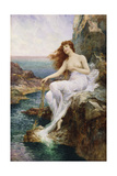 A Sea Nymph Seated on a Rock with a Ribbon of Seaweed  1897