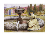 A Lady and a Dog Beside an Ornamental Pool