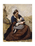 Breton Breastfeeding Her Child; Bretonne Allaitant Son Enfant  1855-1860