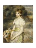 Young Girl Carrying a Basket of Flowers; Jeune Fille Portant Une Corbeille De Fleurs  1888
