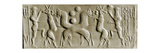 Cylinder Seal Depicting Two Crossed Lions Attacking a Horned Creature While the Bearded Hero …
