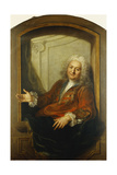 Portrait of Monsieur Dupille  Mid-Body  in a Robe Sitting on the Edge of a Window  1733