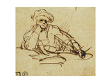 Study of a Writer  Seated  Pausing in Thought