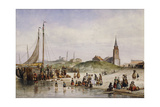Fisherfolk on a Beach with a Town Beyond  1857