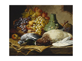 A Mallard and a Woodpigeon with a Basket of Apples and Grapes on a Wooden Ledge