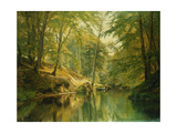 A Wooded River Landscape with Figures in a Boat  1893