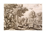 Otter Hunting by a River  Engraved by Wenceslaus Hollar  1671