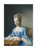 Portrait of Grace  Countess of Clanbrassil  Nee Foley  Half Length  in a Blue Dress  Seated at a…