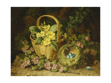Primroses in a Basket  Japonica and a Bird's Nest