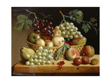 A Basket of Grapes  Apples  Peaches and Other Fruit on a Ledge  1833