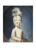 Portrait of the Marquis De Fleury as an Infant in a Padded Hat  with a Plume  Holding a Gold and…