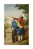 The Prince of Saxe-Gotha with His Tutor  Baron D'HelOn a Terrace  1768