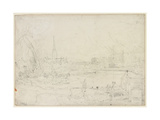 Salisbury Cathedral from Long Bridge  1829