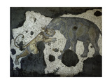 A Mosaic Depicting an Elephant Attacking a Lion Which Is Thought to Be from the Great Palace of…
