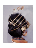 Mounted on a Model are Hair Ornaments  Earrings and Necklaces