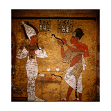 Wall Painting from the Tomb of Tutankhamun Showing King Aye Performing the Mouth Opening Ritual…