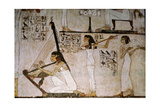 A Detail of a Wall Painting in the Tomb of Rekhmire Showing Women Playing the Harp  Lute and…