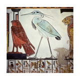 A Detail of a Wall Painting in the Tomb of Queen Nefertari Depicting an Egret and a Falcon