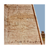 Relief from the Temple of Ramesses III at Medinet Habu Depicting Two Panels with Hunting Scenes…
