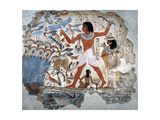 A Painting from the Tomb of Nebamun Showing Him Standing on a Reed Boat Hunting Birds in the…