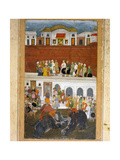 Miniature Painting Depicting Shah Jahan at the Jharoha Window in the Red Fort at Agra  While…