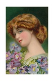 Pretty Auburn-Haired Girl with Flowers