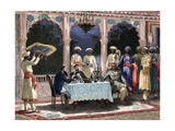 India British Colonial Era Banquet at the Palace of Rais in Mynere Engraving by Hildibrand…