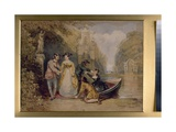 A Watteau Scene  with Figures Landing from a Boat  C1830