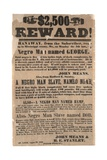 $2 500 Reward! Mississippi Co  Missouri Broadside Advertising Runaway Slaves  23rd August 1852