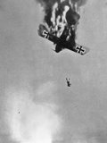 Burning German Aircraft Plunges to Earth with Pilot Falling to His Death  1914-18