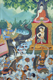Wall Painting of the Temptation of Buddha  in Which Buddha Drowned the Demons with the Help of…