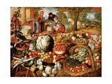 A Greengrocer's Stall with the Flight into Egypt Beyond