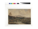 Landscape  Cattle in Stream with Bridge  C1840