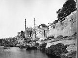 Pachganga Ghat and the Aurangzeb Mosque  Benares  C1860-70s