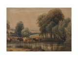 Landscape with Willows  Cows and Calf in a Stream  C1835