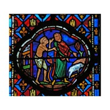 Window Ew-L Depicting a Scene from the Prodigal Son Story: Having Spent All His Money He Looks…