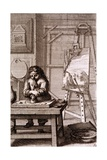 An Artist's Apprentice Cleaning an Engraving Plate  from 'Recueil De Figures'  1737