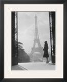 Woman looking toward Eiffel Tower