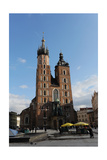 Poland Krakow View of the Central Market Square with Saint Mary's Basilica Founded in 1222 by…