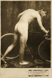 Cabinet Card of a Naked Cyclist  C1898
