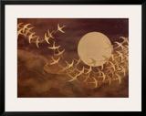 Cranes Over Moon