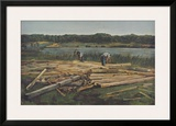 Carpenters Working on the Bank of a Lake