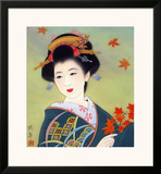 Japanese Geisha in Fall Leaves