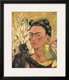 Self-Portrait with Monkey and Parrot  c1942